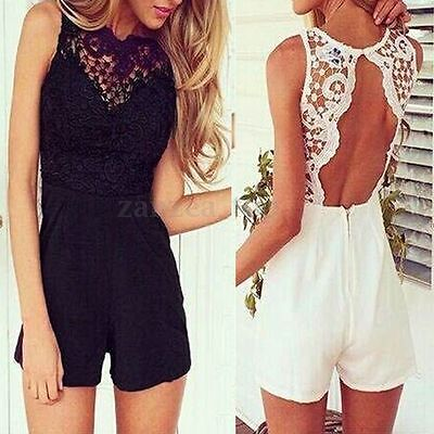 Plus Size Lace Sleeveless Bodycon Backless Jumpsuit Romper Trousers Clubwear