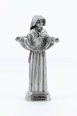 Pewter Catholic Saint Maria Faustina Statue with Laminated Prayer Card