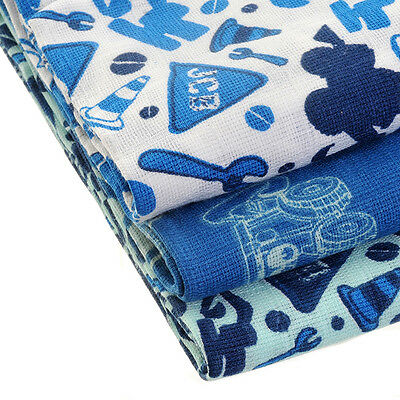 Official Licensed Product JCB Muslin Squares 3 Pack Blue Baby Dribble Cute Gift