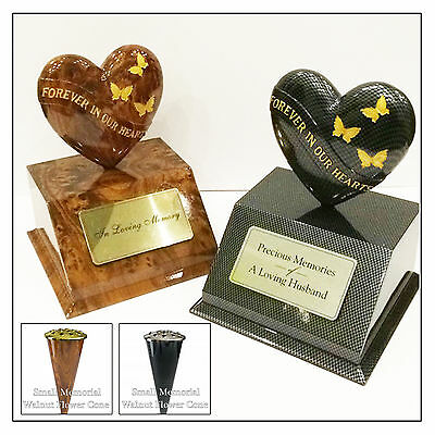Memorial Walnut/Carbon Butterfly Heart Ornament, Cone Vase & Personalised Plaque