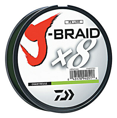 Daiwa J-Braid X8 Braided Fishing Line - 330 Yards (300 M) Chartreuse Line