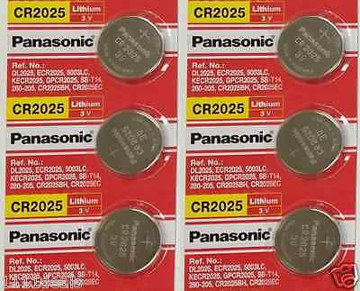 6 X Fresh New Panasonic Cr2025 Battery 3 Volt Lithium Coin Batteries  Exp 2028