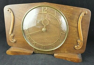 Vintage Wooden Mantle Clock c1950's, Working But  Replacement Movement