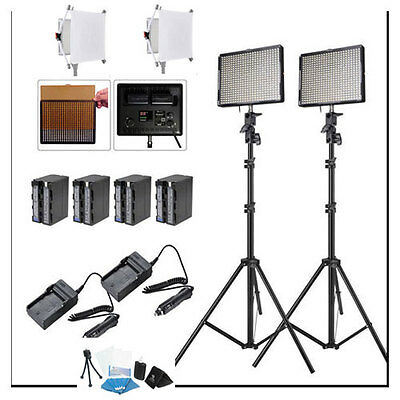 Aputure 2x AL-528C CRI95+ LED Video Light Kit +2x Light Stand +Battery AL528C ++