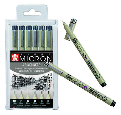 Black Sakura Pigma Micron Pack of 4-0.05mm and Green Red Pigment Fineliners Blue