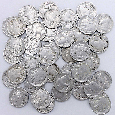 Buffalo Nickel Roll 40 Circulated US Coins With Dates