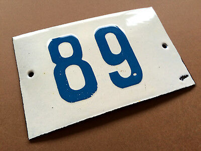 VINTAGE ENAMEL SIGN TIN PORCELAIN HOUSE NUMBER 89 DOOR GATE WHITE BLUE 1950's