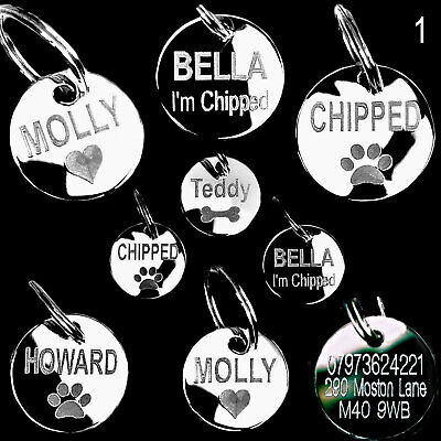 Dog Tags Pet Round Cat Tag Engraved Id Name Disc Large/Medium/Small Personalised