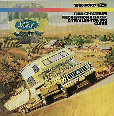 1986 FORD RV / Tow Guide Brochure: F Series,150,MOTORHOME,CAMPER,BRONCO,RANGER
