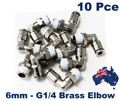 10 X Pneumatic 6mm - G1/4 Push Fit Nickel Plated Brass Elbow .