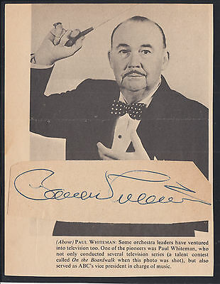 Paul Whiteman, American bandleader, composer and violinist. Clipped signature