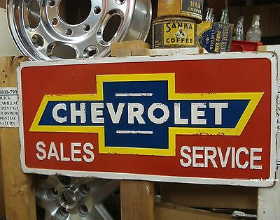 """* EMBOSSED 27"""" LARGE METAL SIGN  Chevrolet Sales & Service (( SHIPS WORLDWIDE ))"""