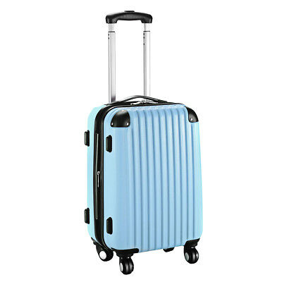 """GLOBALWAY 20"""" Expandable ABS Carry On Luggage Travel Bag Suitcase Light Blue"""