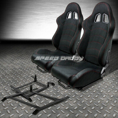 2 X Black Suede Reclinable Racing Seat+Low-Mount Bracket For 03-09 Nissan 350Z Z