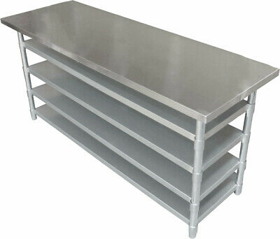 1.5M #430 Medical Centre Stainless Steel Gym Bench ,4 Undershelf