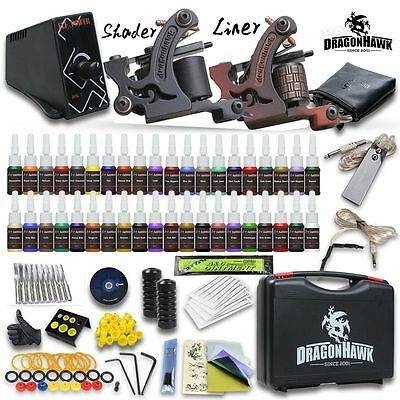 Professional Complete Tattoo Kit 2 Top Machine Gun 40 Color Inks