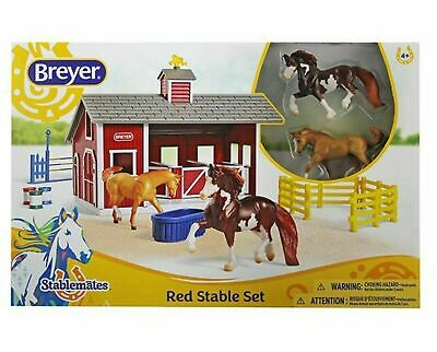 BREYER HORSES Stablemates Red Stable Set with Two Horses 1:32 Scale 59197