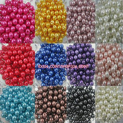 Z003 Wholesale Glass Pearl Round Spacer Loose Beads 4/6/8/10mm DIY 25 colors