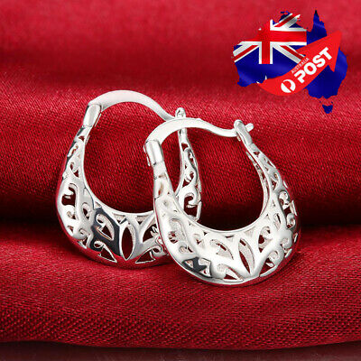 New 925 Sterling Silver Filled Women 26mm Filigree Flower Hoop Earrings Stunning