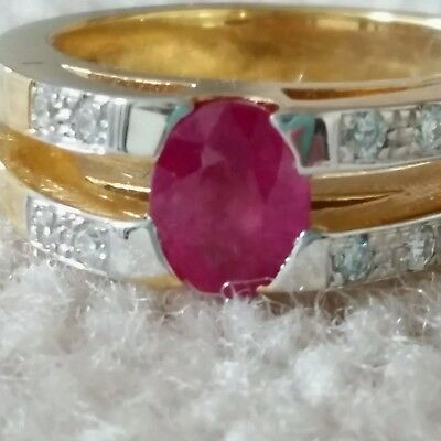 GIA Brilliant  RUBY AND DIAMOND RING  1.34 cttw 18K GOLD $21,500