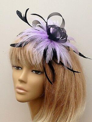 Black/Lilac Feather Fascinator On Comb Weddings Mother Of The Bride/Groom Races