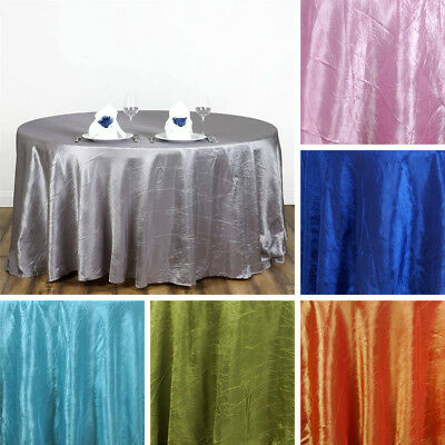 """24 pcs Wholesale 117"""" ROUND Crinkled Taffeta TABLECLOTHS Wedding Party Supplies"""
