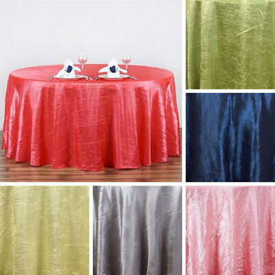 "10 pcs 117"" ROUND Crinkled Taffeta TABLECLOTHS Wedding Party Catering Supplies"