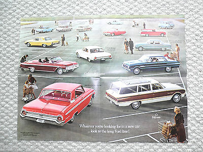 1962 FORD Brochure / Poster :THUNDERBIRD,Falcon,Fairlane,Galaxie,Station Wagon