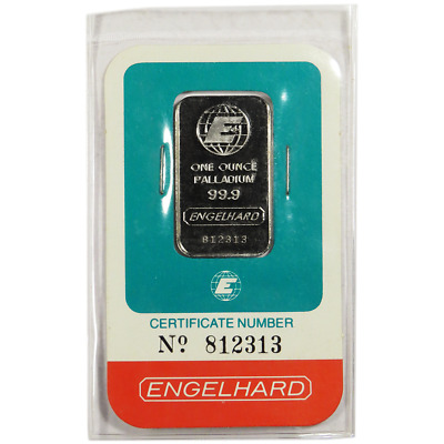 1 Troy oz Engelhard Palladium Bar .9995 Fine In Assay