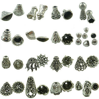 Vintage Silver Alloy Jewelry Findigns Shell Leaf Flower Beads Tassel Ends Cap