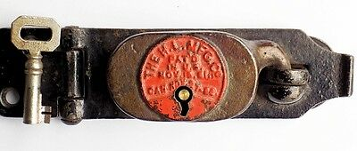 Antique 1881 Patent Dated H. L. Manufacturing Company Hasp Lock & Key