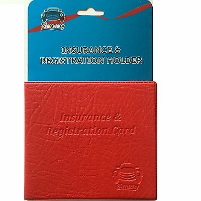 "Red AUTO CAR INSURANCE REGISTRATION HOLDER WALLET 5.25x4.6""Embossed Faux-Leather"
