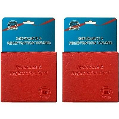 """2 Red CAR INSURANCE REGISTRATION HOLDER WALLET 5.25""""x4.6"""" Embossed Faux-Leather"""