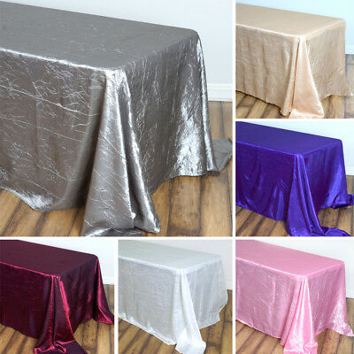 "24 pcs Wholesale RECTANGLE 90x156"" Crinkled Taffeta TABLECLOTHS Wedding Linens"