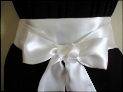"2.5""x100"" White Satin Sash Bow Belt Prom Party Wedding Bridal Or Update Dress"