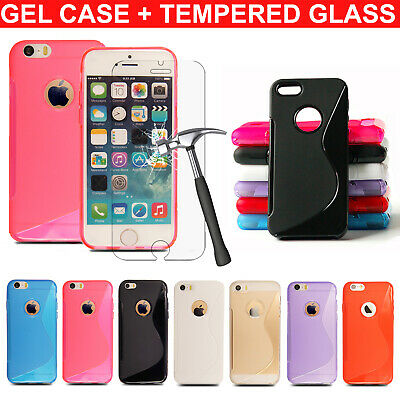 For Apple iPod Touch 6th 5th 4th Gen Ultra Thin Gel Wave Case + Tempered Glass