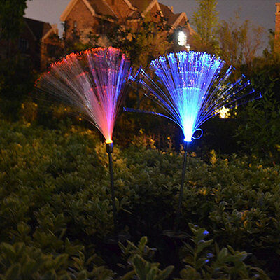 2X Solar Power Color Changing LED Outdoor Garden Landscape Yard Path Post Light