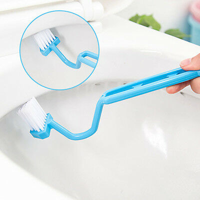 S Type Curved Plastic Toilet Cleaning Brush Corner Rim Cleaner Bent Bowl Handle