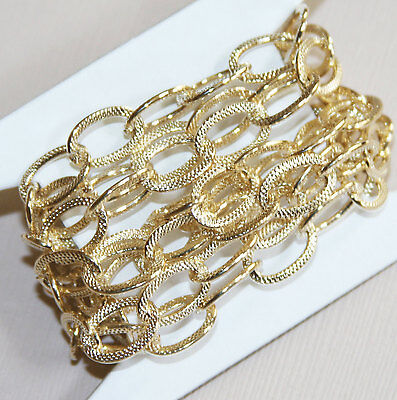 40 inch light gold steel chain, flat texture oval chain , open link 13x9mm