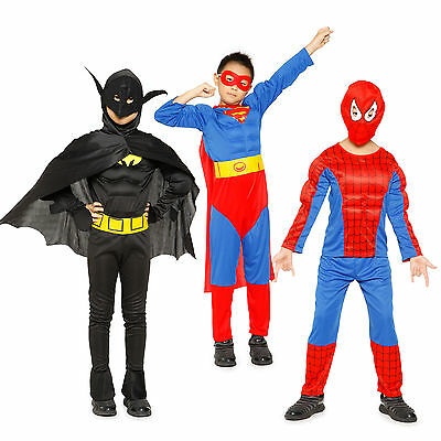 Boys Superman Batman Spiderman Muscle Costume Padded Chest Book Week Fancy Dress