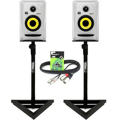2x KRK Rokit RP4 G3 White Monitors wtih Gorilla GSM-100 Monitor Stands & Cables