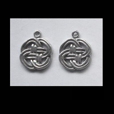 PEWTER CHARM #2360 x 2 CELTIC KNOT (16mm x 13mm) 1 bail