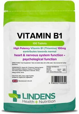 Vitamin B1 (Thiamin) 100 Tablets - mosquito repellent, energy (Lindens)