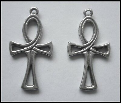 PEWTER CHARM #2371 x 2 ANKH (29mm x 15mm) 1 bail - EGYPTIAN
