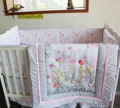 New Baby Girls 7 Pieces Embroidered Birds Cotton Nursery Bedding Crib Cot Sets