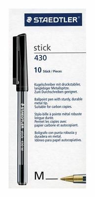 Staedtler Stick 430 M-9 Ballpoint Pen Metal Tip Medium 10 Stick/Pieces - Black