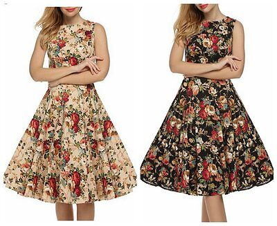 Women's Classic Floral Vintage 1950s Style Rockabilly Casul Party Swing Dress