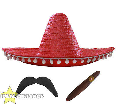 Red Mexican Sombrero Straw Hat Pompoms Add Accessories Moustache Cigar
