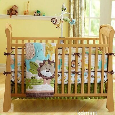 New 7 Pieces Beautiful Lion animal Baby girl Crib Cot Bedding Quilt Set