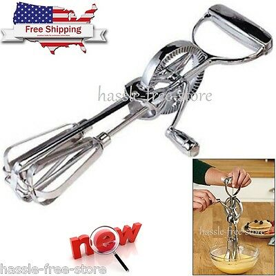 Manual Rotary Egg Beater Stainless Steel Blades Hand Crank Blender 12 Inch Mixer